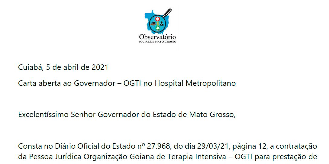 Carta aberta ao Governador – OGTI no Hospital Metropolitano